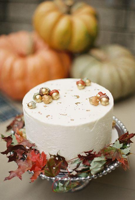 Rustic Fall Wedding Cake Topped with Metallic Acorns | Brides.com