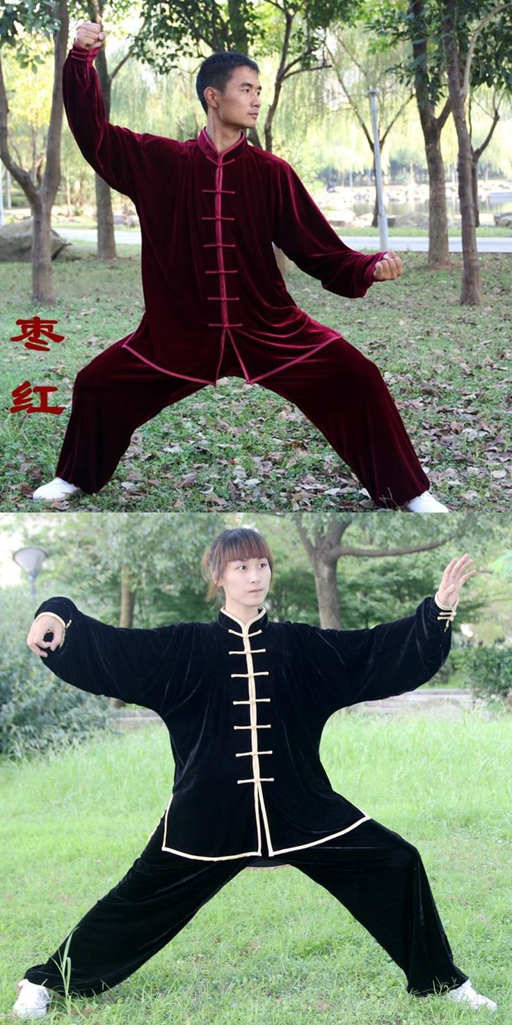 [Visit to Buy] Men Women Pleuche Fabric Thickened Warm Tai Chi Clothing Kung Fu Suit Martial Art Uniform taiji wushu Winter Clothing #Advertisement