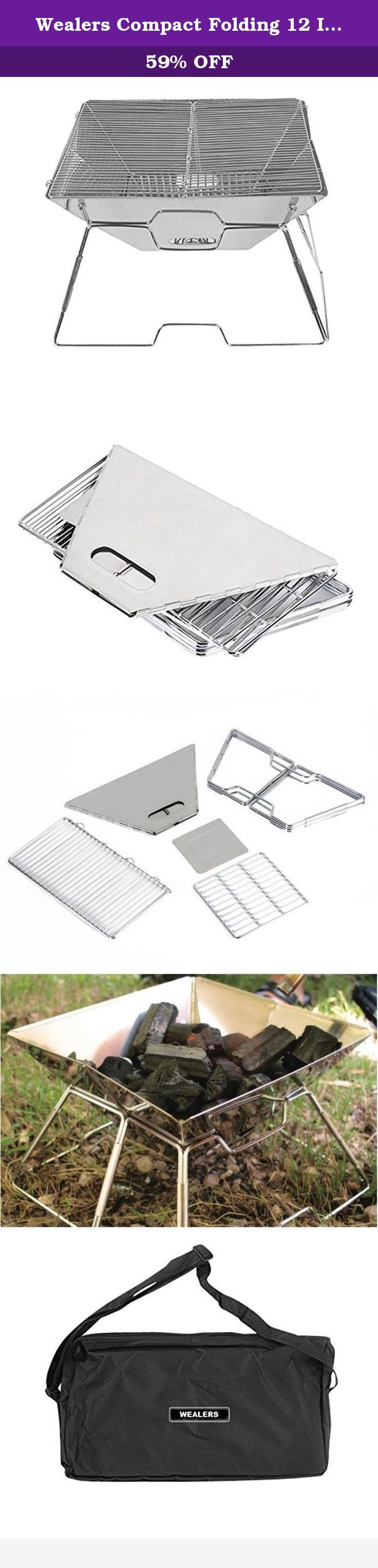 Wealers Compact Folding 12 Inch Charcoal BBQ Grill Made From Stainless Steel. Portable and Great for Camping, Picnics, Backpacking, Backyards, Survival, Emergency Preparation. The WEALERSTM folding grill set is a great way to take grilling with you wherever you go. Whether it's on a camp out, at the RV park or in the backyard, your Quick Grill is a fun and easy way to enjoy a meal with friends and family. The highly compact design allows the Grill to be easily set up and easily folded up…