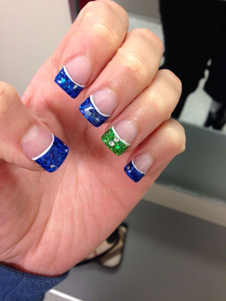 My Seahawks nails. I absolutely love them.