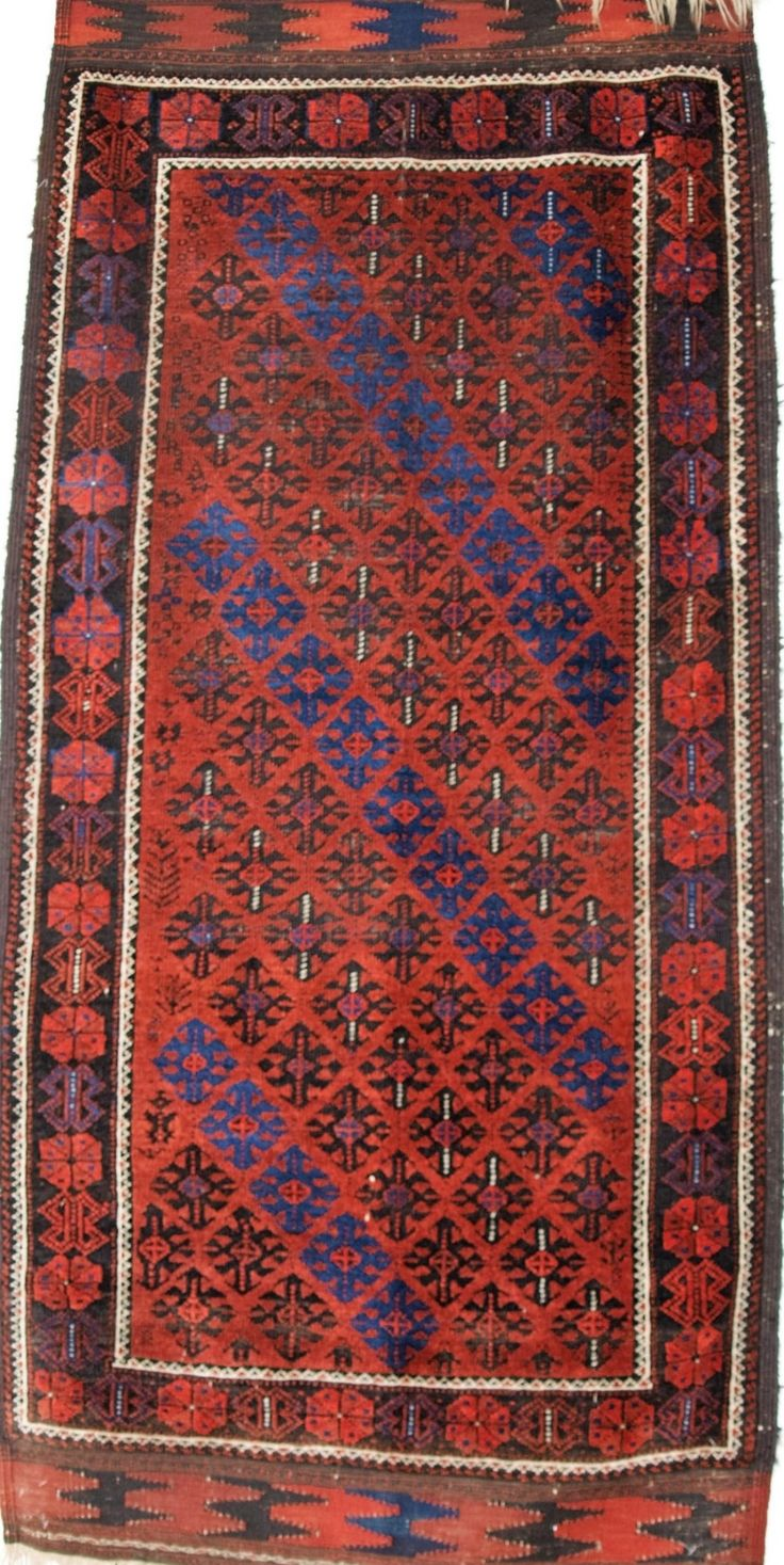 Size: 5ft 11in X 2ft 11in (185 X 89cm). Antique Baluch Rug