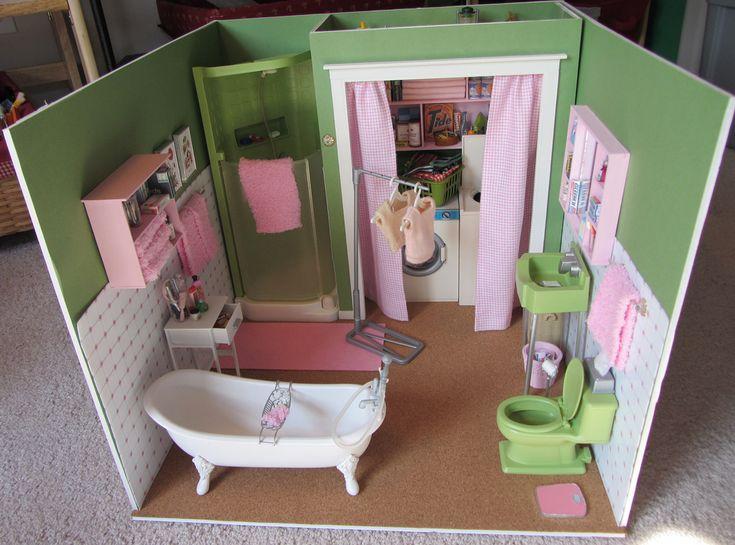 Supplies used to create a Barbie room/diorama Retro Barbie Bathroom Diorama Construction