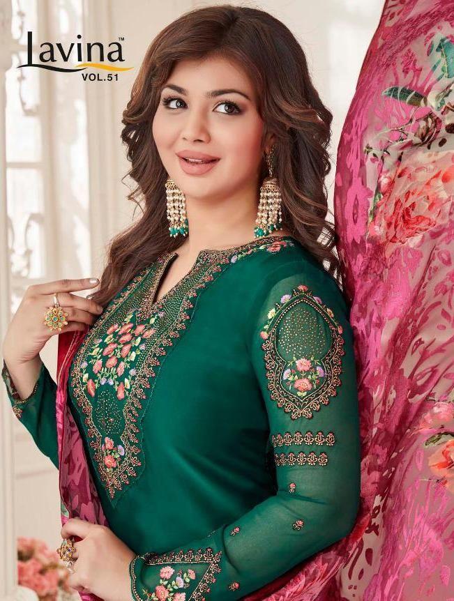 e2258ac702 lavina vol 51 satin georgette salwar suit with brasso dupatta wholesale -  Krishna Creation