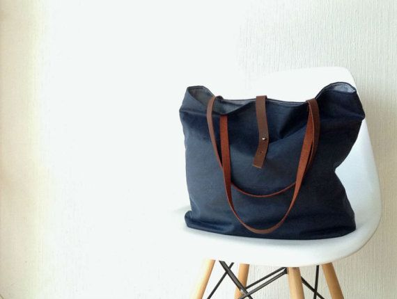 Waxed canvas Tote Bag in Navy Blue - Leather handles - Large, By ...