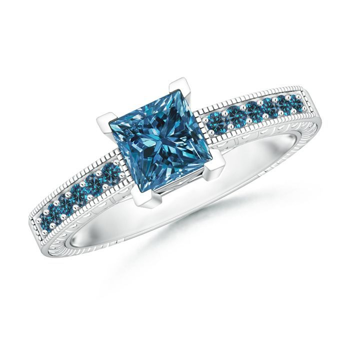 Angara Enhanced Blue Diamond Solitaire Ring(5.8mm) lNSTv8Y0R