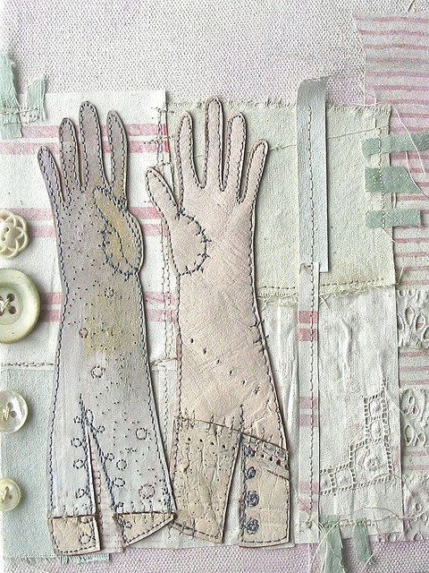 Priscilla Jones 'Gloves'.  (Pinned for idea. Use  the antique gloves in a collage of other items from mother.)