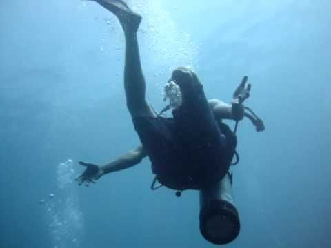Diving with one leg ... @ Islas de Rosario #Colombia. Produced by Diving Planet.