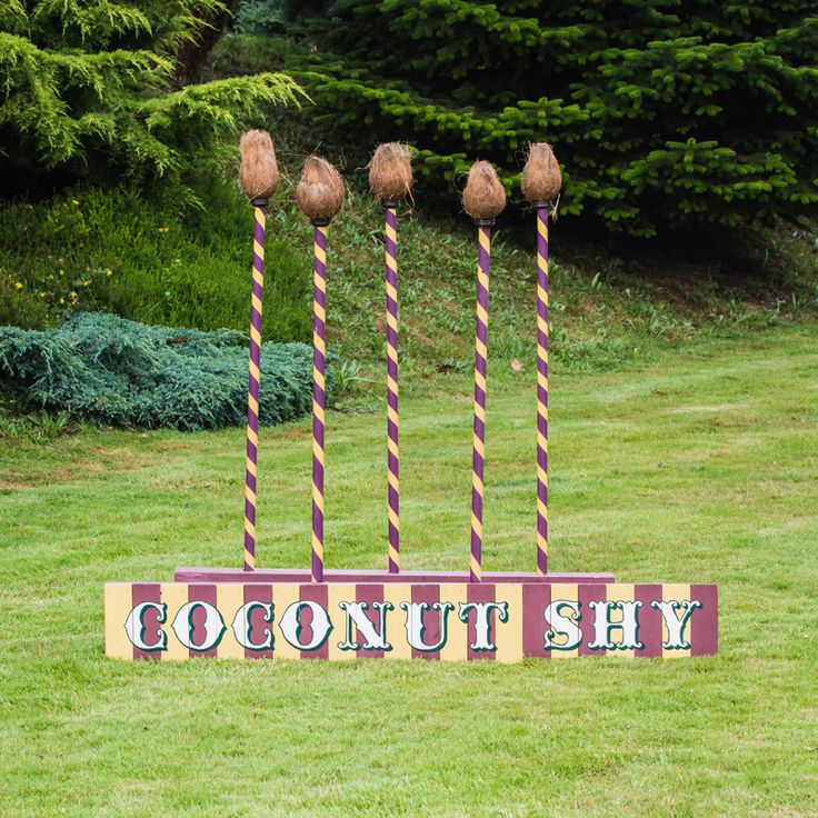 A simpler version of the deluxe coconut shy; this one can be used on grass or on a flat surface such as wood decking, bucket of balls and an sign is available to hire for £35.