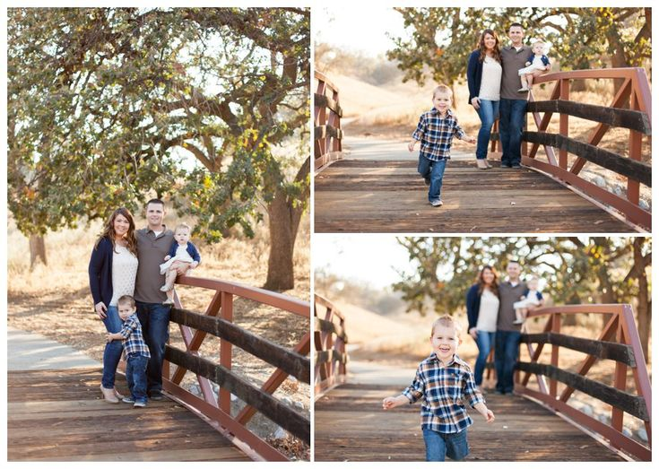 Modern family portraits on a footbridge by just maggie photography los angeles family photographer