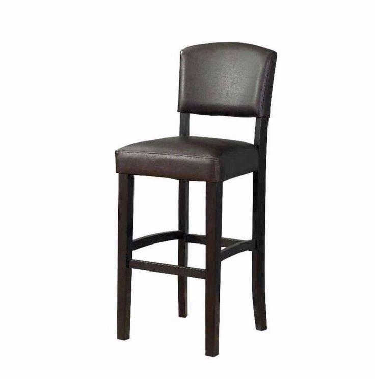 24 Inch Contemporary Counter Height Bar Stool Dark Espresso Finish Home Decor #chair