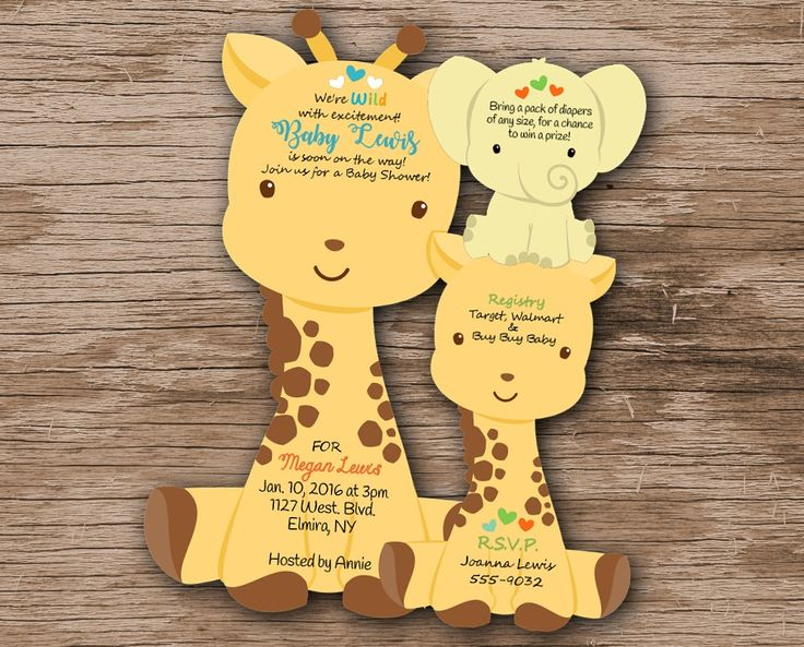Giraffe Baby Shower Invitations, Giraffe Baby Shower Invitation, Baby shower book cards, Unique Giraffe Baby Shower, Giraffe Jungle Invites by newyorkinvitations on Etsy