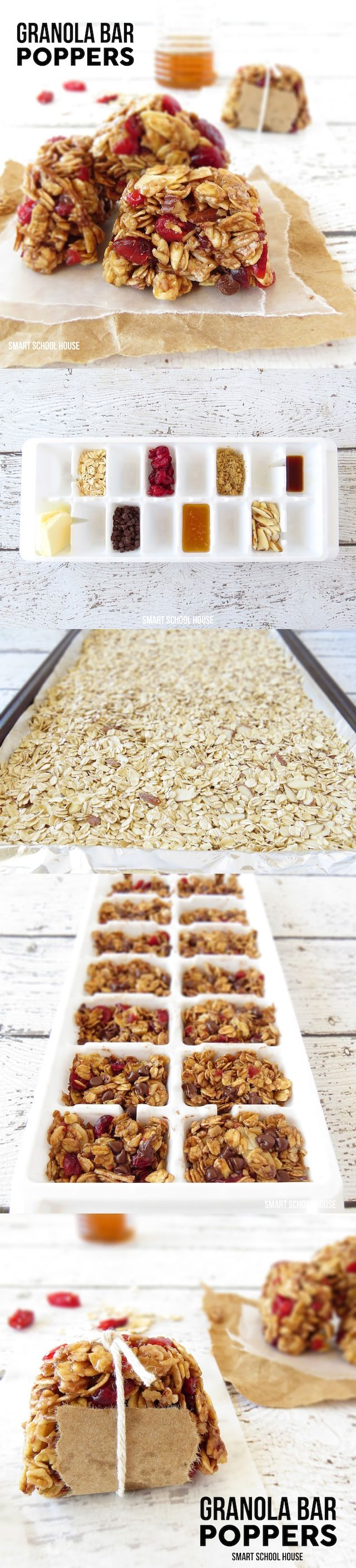 How to make Granola Bar Poppers in an ice cube tray - sub out any nuts for pumpkin and sunflower seeds