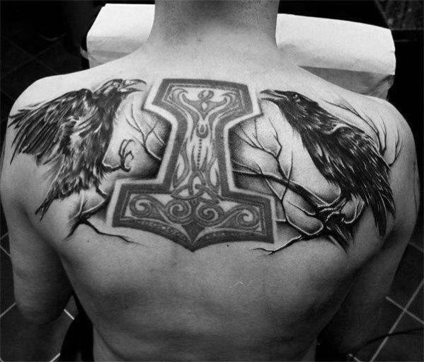 60 Odins Ravens Tattoo Designs für Männer – Hugin und Muninn Ideen