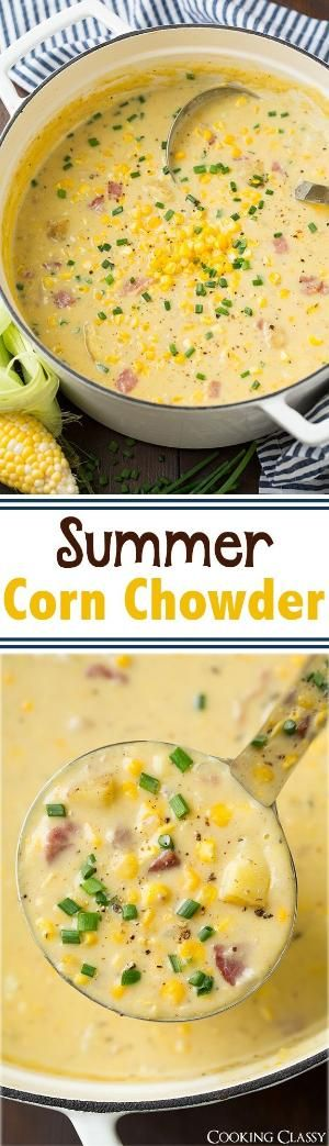 Summer Corn Chowder - this is the perfect summer soup! Packed with corn and it's creamy and delicious! by alisiachan