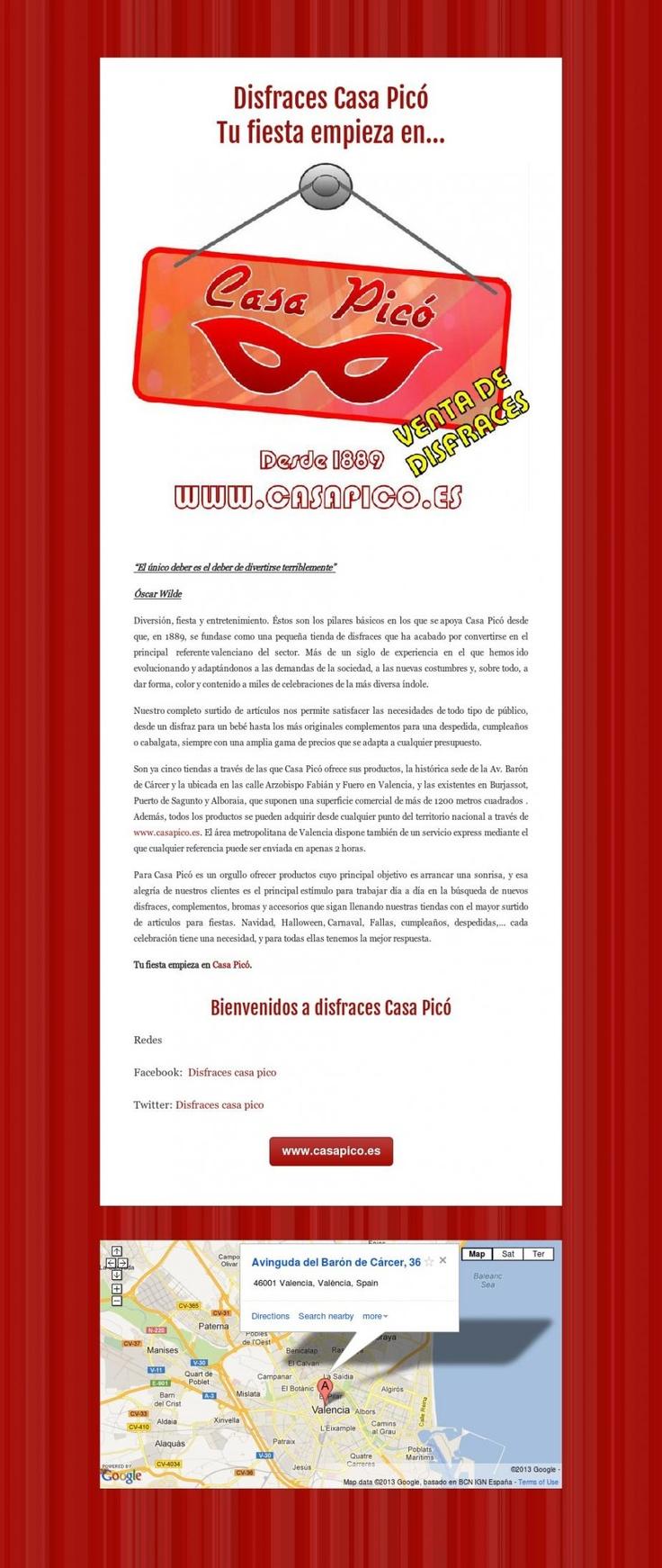 www.casapico.es  Disfraces Casa Picó