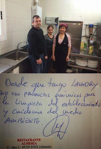 Os cuento el caso especial de un cliente, es Pepe, propietario del #restaurante #Almería en Enix: ha comprado e instalado #LaundryPro en su local sin acoplarlo a una #lavadora, sólo para usar el Kit opcional multiusos ActiveClean y así sustituir muchos productos químicos para limpiar por el agua tratada del Laundry Pro. Laundry Pro España: Google+ #opinión #laundrypro