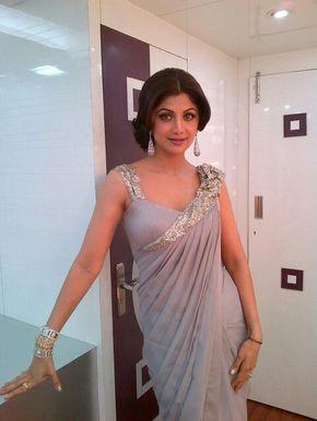 Shilpa Shetty in Gaurav Gupta #Grey Sari / Saree
