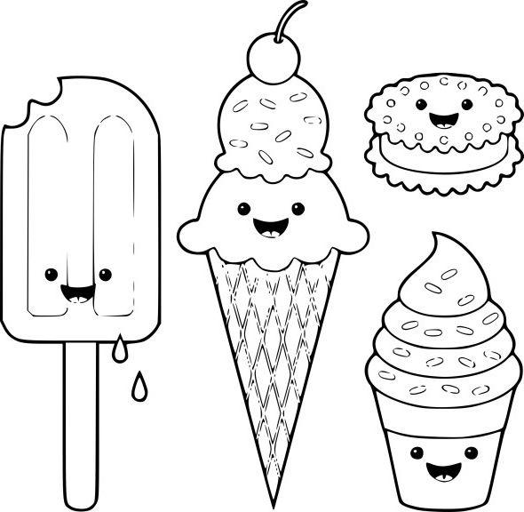 Coloriage Kawaii Sweets Colour Manga Cute Dessin Avec