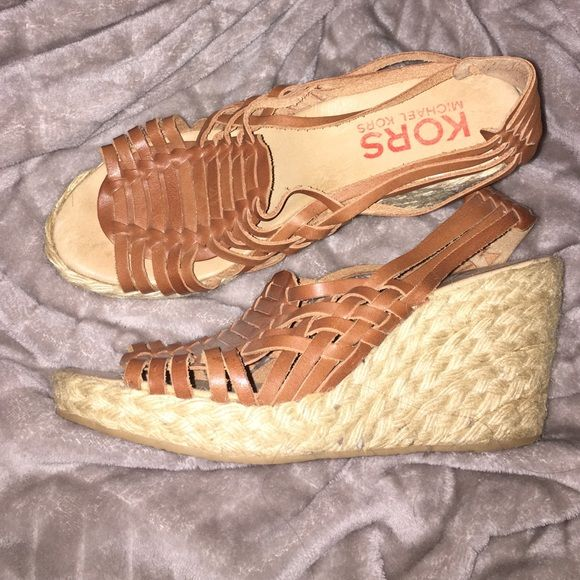 FLASHSALE!! Beige wedges Cute beige wedges, worn before but good for a casual outfit, super comfortable to wear for everyday use or just to look cute. Michael Kors Shoes Wedges