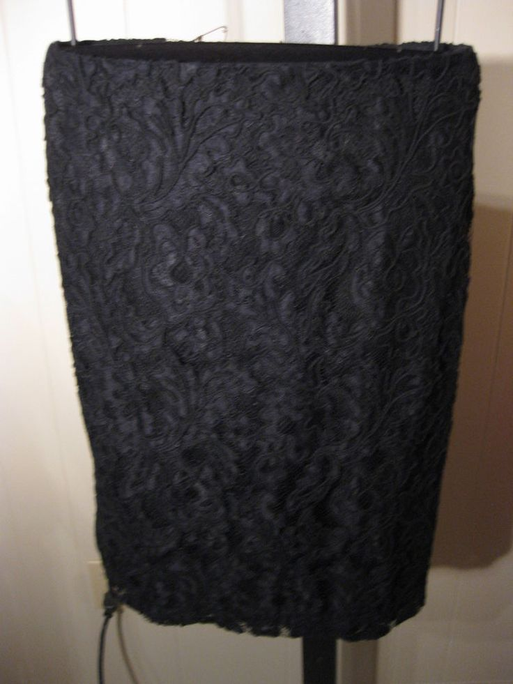 PETITE BLACK CORDED LACE OVERLAY FORMAL SKIRT TALBOTS 10P $149 #Talbots #StraightPencil