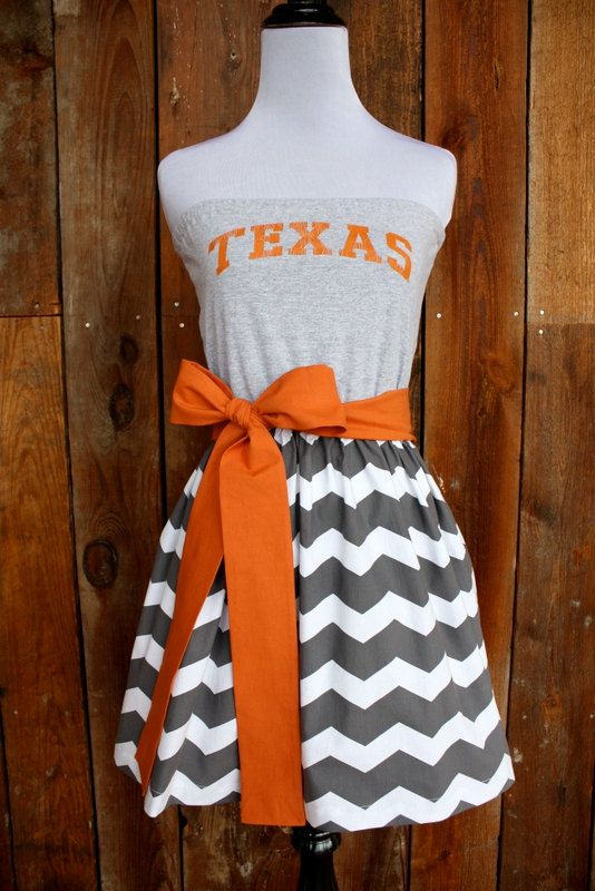 University of Texas Longhorns Game Day Dress with chevron! Too cute :). Not really a longhorn fan but I would wear this for my hubby!!!