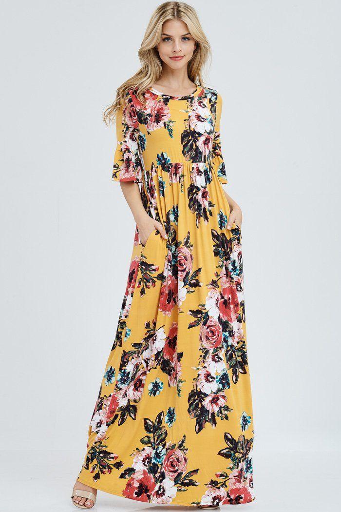 4747b61509f9c Gloria Floral Maxi Dress : Mustard in 2019 | Falling for Florals ...