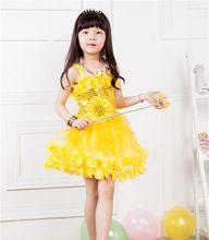 Новая Мода 2015 Летние Девочки Желтый Принцесса Детские Платья Девушки Партия Танцы Платье Девочка Одежда(China (Mainland))