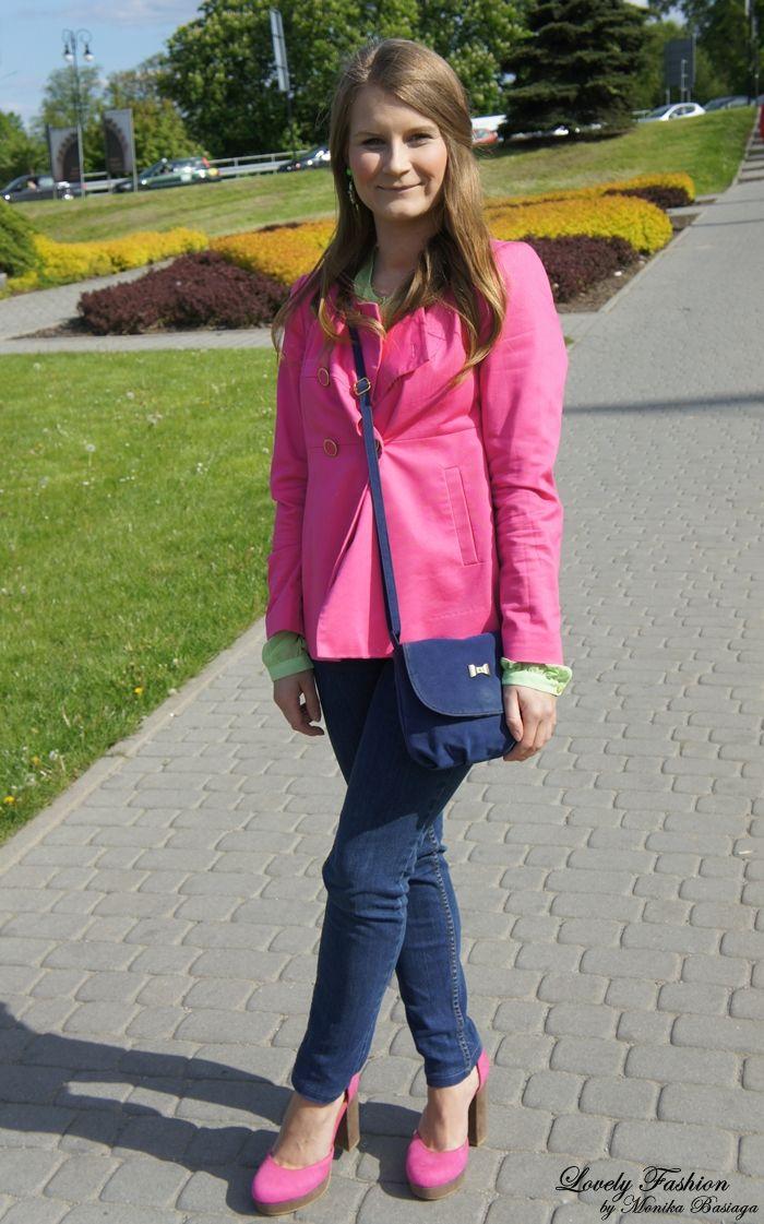 shirt / koszula - Top Secret; marynarka / jacket - H dżinsy / jeans - NN (second hand); buty / shoes - H&M (second hand); torebka / bag - Top Secret; kolczyki / earrings - House; spring, colorful outfit