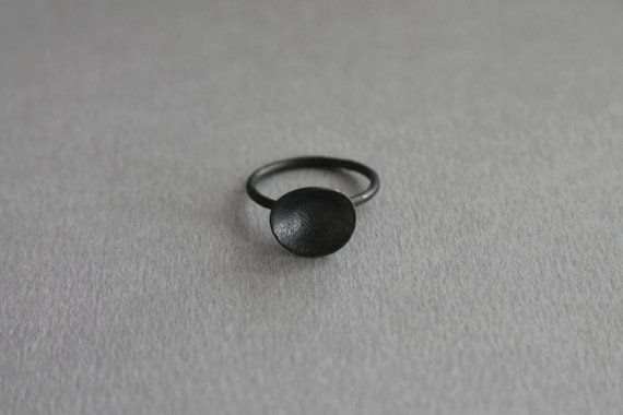 Stackable blackrhodinized sterling silver rings by MajusJewellery