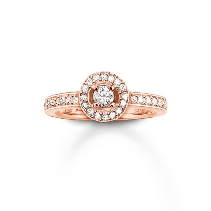 THOMAS SABO ring from the Sterling Silver Collection. Tip: customise this ring and combine it with other rings from our collection. Ring - 925 Sterling silver; 18K rosé gold plated - white zirconia-pavé Width: 0.2 cm