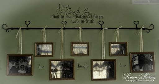 I like this alternative to just hanging pics on the wall...very pretty!