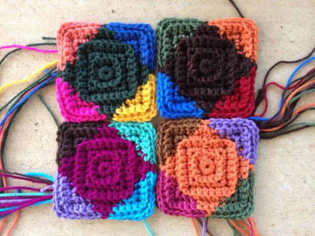 Crochet squares - squares in squares! A very interesting effect. But what a lot of ends to sew in.