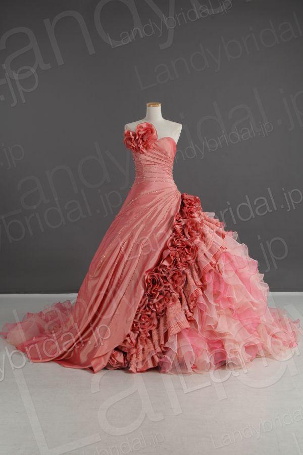 カラードレス プリンセス ハートネック 光沢なタフタ キャンディーピンク お色直し 色変更可能 花嫁ドレス js0085-1