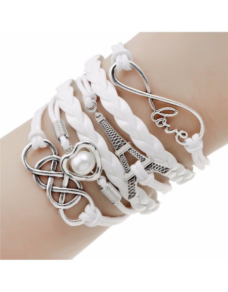 Bracelet Blanc, Infini, Coeur, Tour Eiffel, Love