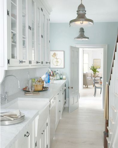 white  and pale blue - very calming and serene. Change the light fixtures to chrome and then I love everything!