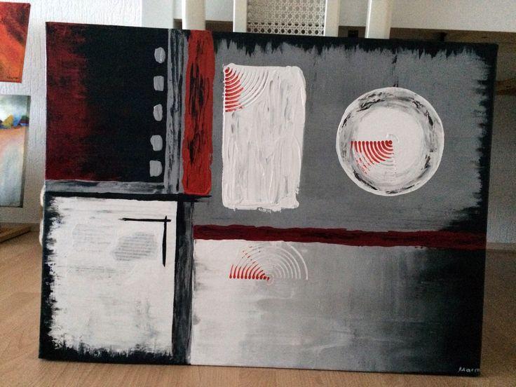 Naam: Cirkels  Afmetingen: 80x60 Extra informatie: handgeschilderd; acrylverf en oliverf op canvas doek; meegeschilderde zijkanten; direct op te hangen; gesigneerd.