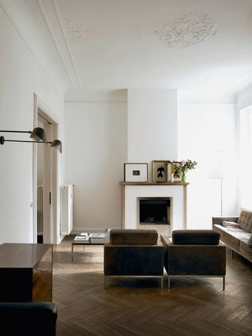 //: Modern Furniture, Living Rooms, Living Spaces, Ceilings Details, Interiors Design, High Ceilings, Wall Sconces, Herringbone Floors, White Wall