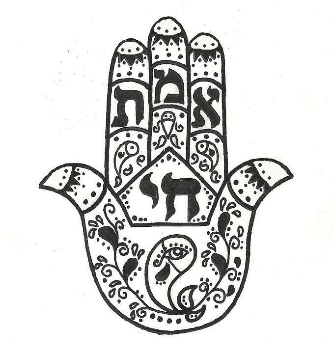 "Fish = good luck  Eye = protection from evil  Chai (center Hebrew) = ""life""   Emet (Hebrew in the fingers) = ""truth""    These are all of the elements I would want in a Hamsa tattoo."