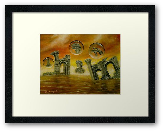 Framed Print, Painting, monuments,temples,ancient,historical,old,era,archeological,finds,antiquity,classic,oldtimes,statue,greek,godess,european,fantasy,scene,bubbles,seascape,water,sky,clouds,picturesque,whimsical,vibrant,vivid,colorful,orange,golden,impressive,cool,beautiful,powerful,atmospheric,celestial,mystical,dreamy,contemporary,imagination,surreal,figurative,modern,fine,oil,wall,art,images,home,office,decor,artwork,modern,items,ideas,for sale,redbubble
