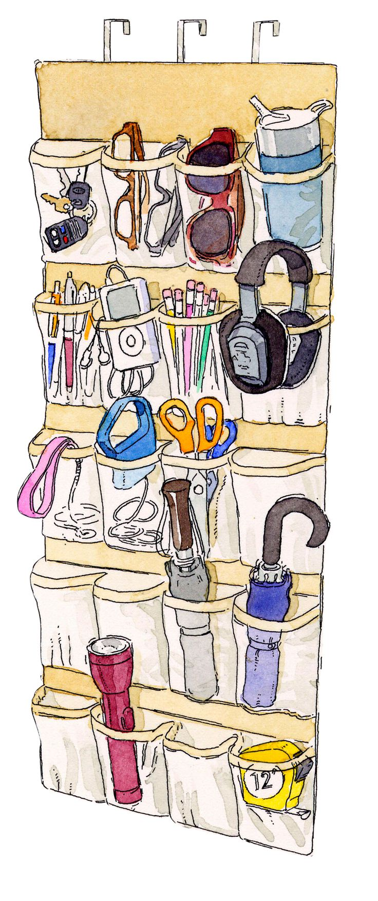 Keep the basics you reach for as you head out — keys, umbrella, a dog leash — in a clear over-the-door shoe rack. Or think of it as a more-organized junk drawer, where you can stash batteries, rubber bands, or flashlights. James Noel Smith - Redbook.com