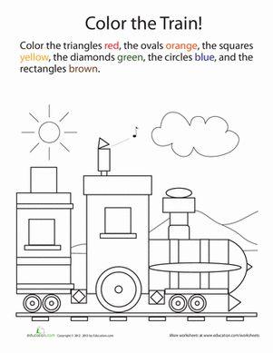 Kindergarten Shapes Color by Number Worksheets: Color by Shape Train