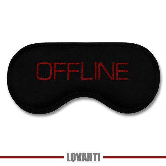 CLEVER and USEFUL Gift: Funny Sleeping Mask OFFLINE - Modern Minimalist Sleep Eyemask Black Satin with Embroidery - Not Only for Nerds!