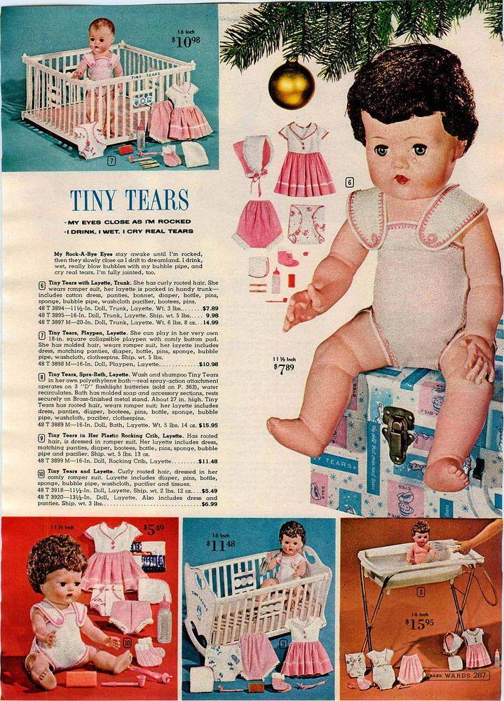 1961 ADVERTISEMENT Doll Tiny Tears Layette Trunk Spra-Bath Crib Snowsuit Baby