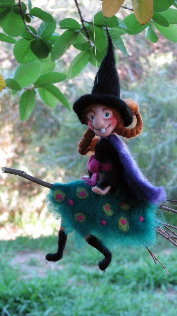 Halloween Witch On Broomstick Needle Felted Art Doll Halloween