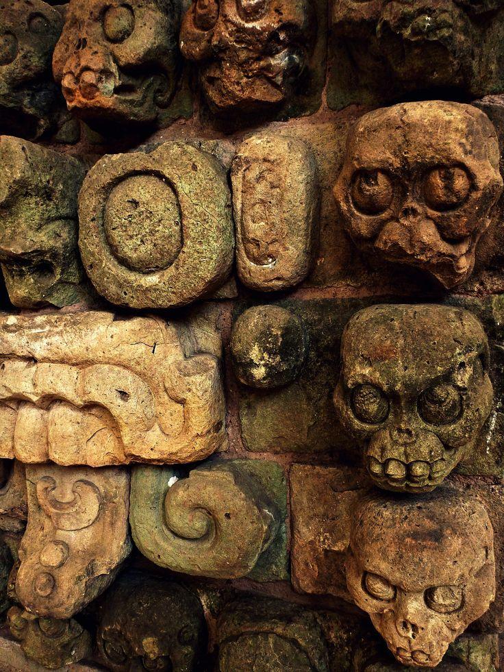 Antiguas tallas cráneo mayas de Copán .