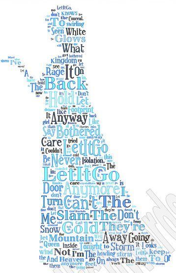 Frozen Print - Image made of words from the song Let It Go ...