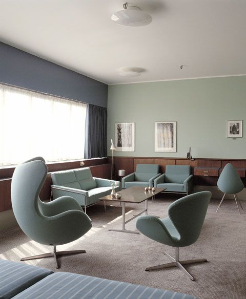 Room 606 at the SAS Royal Hotel in Copenhagen.  The only room in the hotel with all of Arne Jacobsen's design intact.  The 3300 series chairs and sofa (back wall) are amazing!