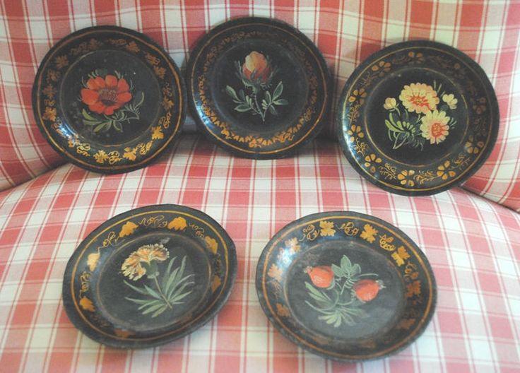 Antique Black TOLEWARE 5 COASTERS hand painted Flowers Napoleon III French di villavillacolle su Etsy