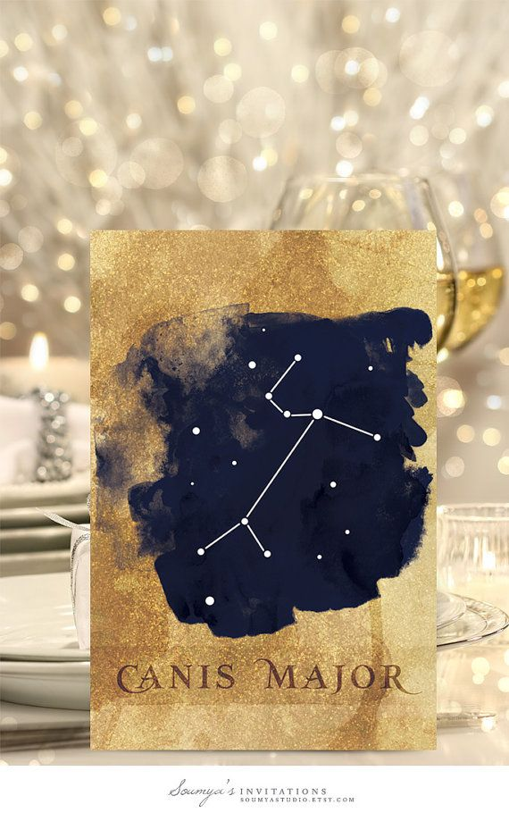 Gold and Navy Blue Wedding Table Numbers, Constellation Wedding Table Cards, Printable Table Numbers, Starry Night Wedding, Galaxy Wedding