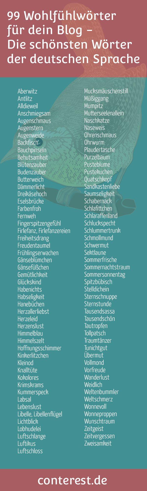 Wohlfühlwörter für dein Blog — Die schönsten Wörter der deutschen Sprache — Conterest